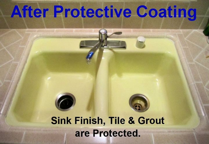 After Protective Coating: The sink, tile & grout were spray coated with Self-Cleen ST3 Self-Cleaning Coating. They are now protected against staining; and are resistant to bacteria, mold & mildew.