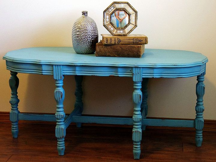 turquoise distressed chalkpainted coffee table, chalk paint, painted furniture