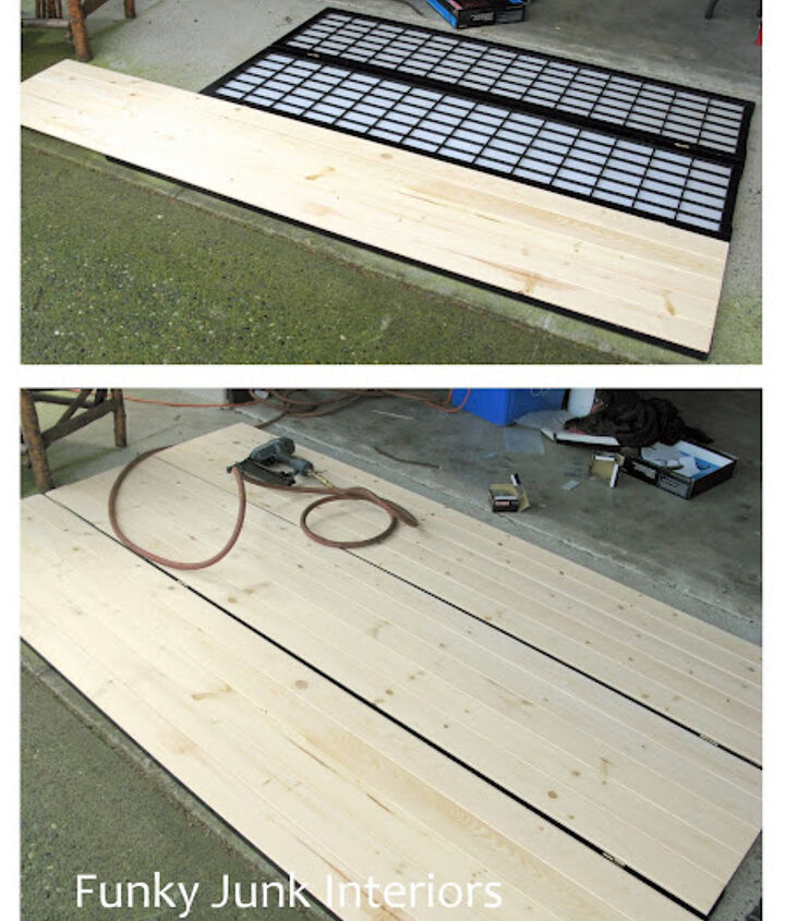 let the sun in with old gate window screens, diy, home decor, how to, windows, woodworking projects, I air nailed pine tongue and groove onto the screens then trimmed the tops
