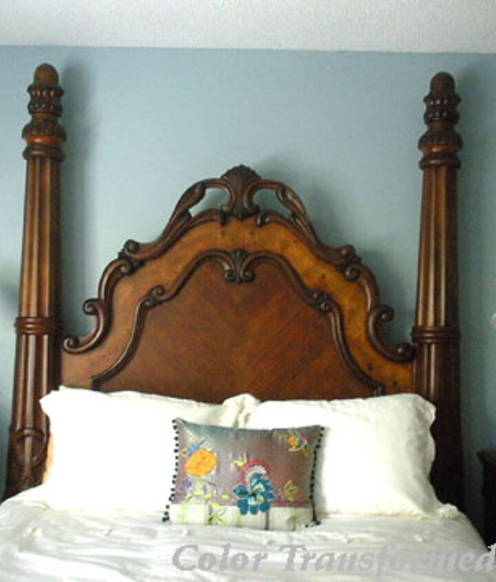 Head wall of bed with lights over each night stand for symmetry.