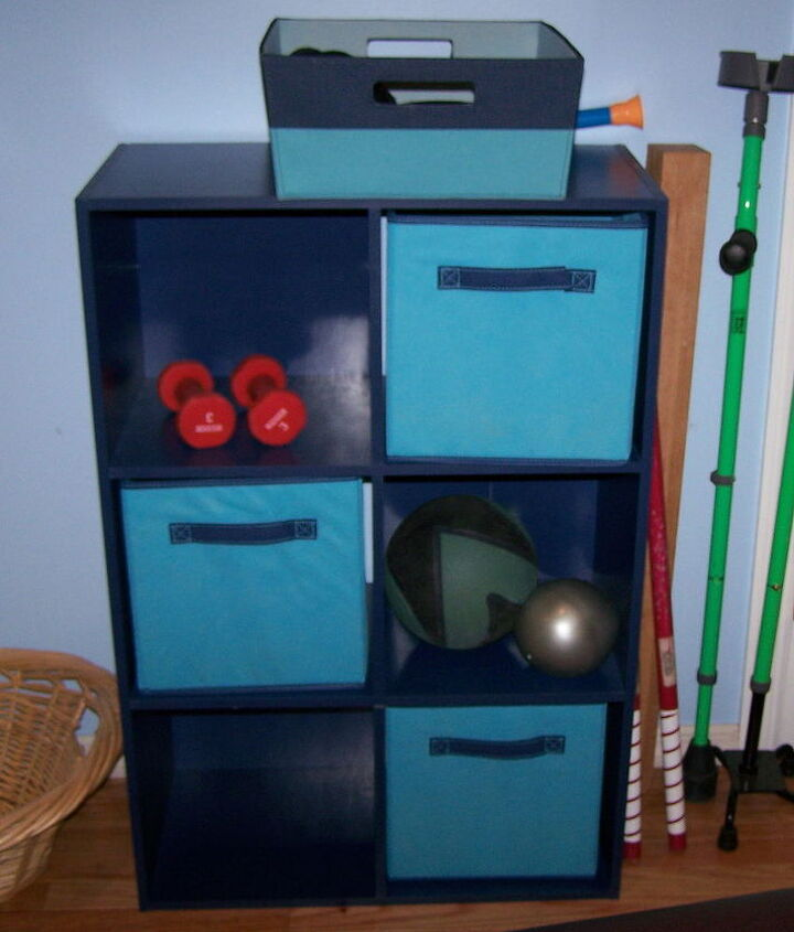 cubbies for weights and miscellaneous therapy equipment.