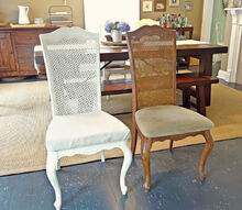 reupholstered dining chairs work in progress, painted furniture