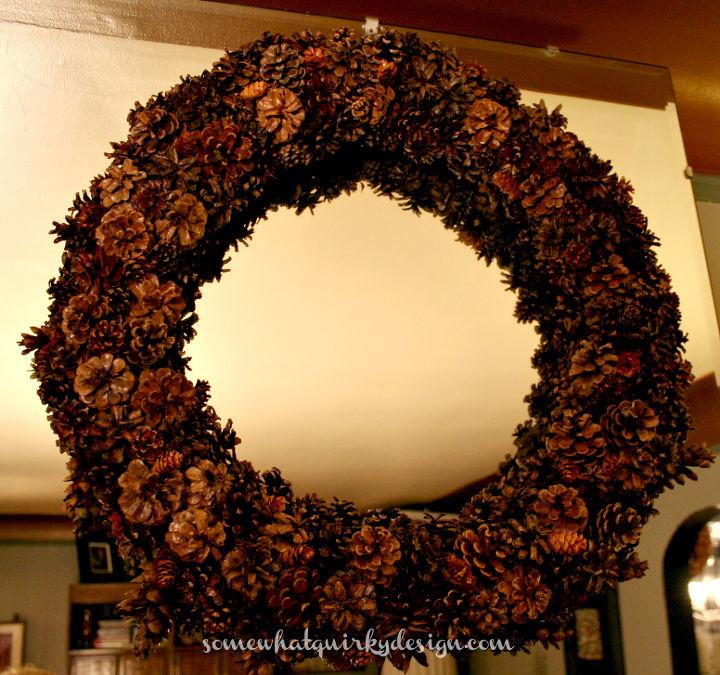 do you know how to make a pine cone wreath, crafts, seasonal holiday decor, I really like how it turned out