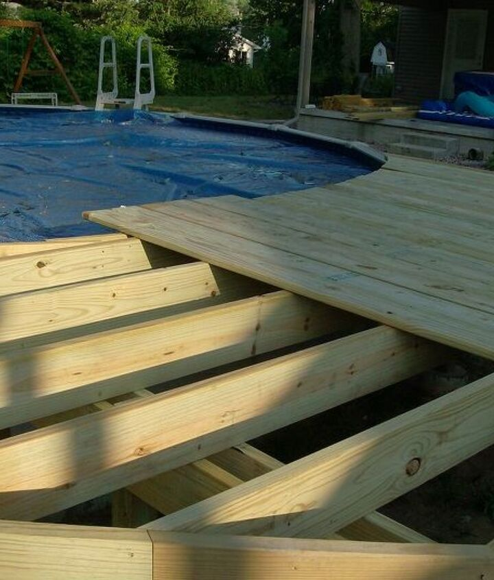 Framing floor and laying decking.