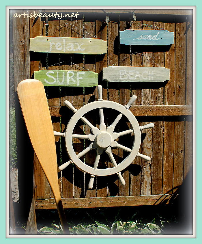 beach signs made from dumpster dive ladder, repurposing upcycling