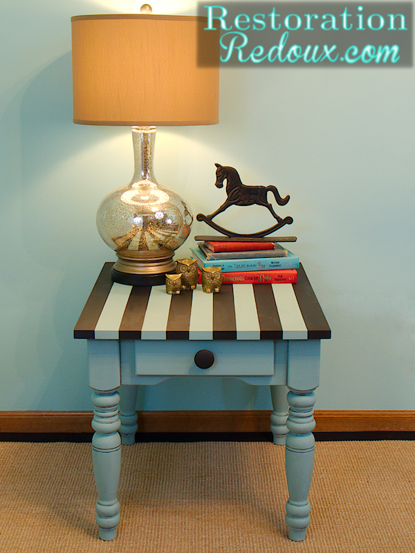 aqua striped chalkpainted table, painted furniture