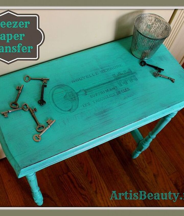 freezer paper transfer french key table in turquoise, painted furniture