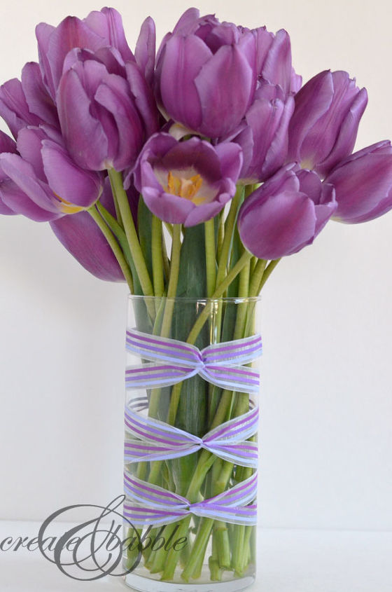 a ribbon wrapped vase, crafts