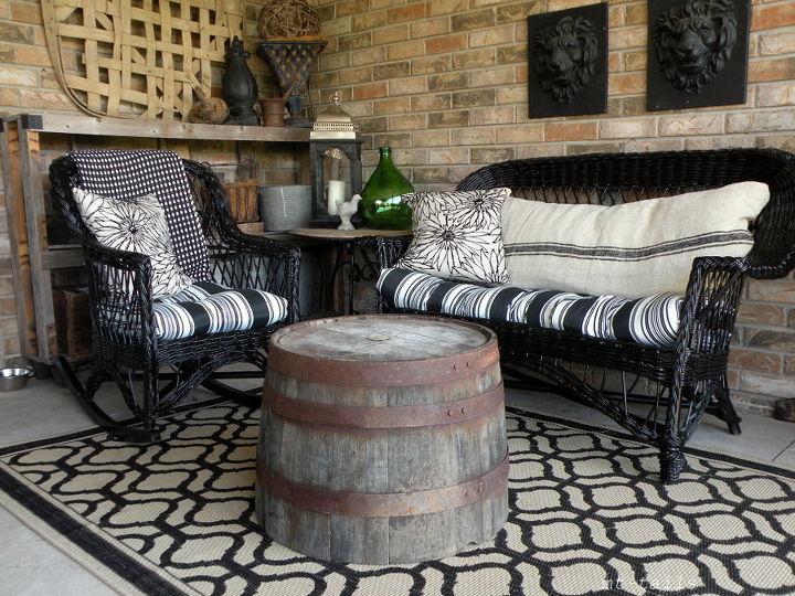 diy spray paint wicker furniture using half wine barrels as tables, painted furniture, repurposing upcycling