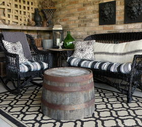 Diy Spray Paint Wicker Furniture Using Half Wine Barrels As Tables, Painted  Furniture, Repurposing