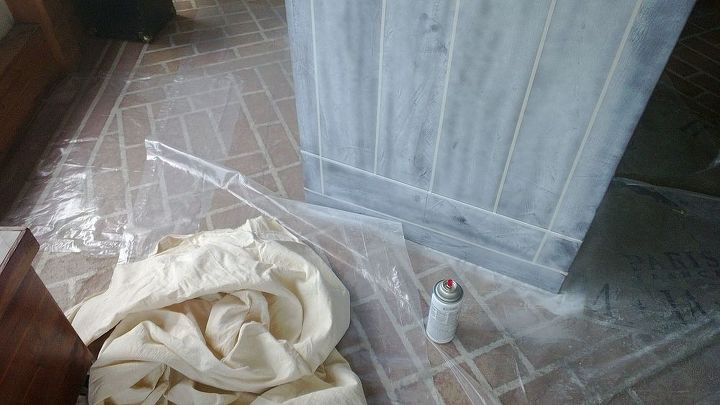 Here's the linen and the white spray paint.  The process for this step is spray, hurry cover wet paint with fabric and press on.  Pull off fabric.
