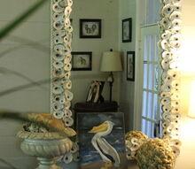 diy oyster mirror, crafts, home decor, oyster mirro