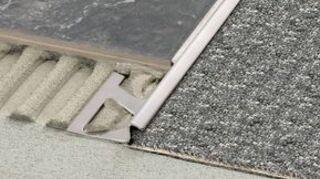 q transition strip between tile and carpet, flooring, home maintenance repairs, tiling, Schluter Reno TK