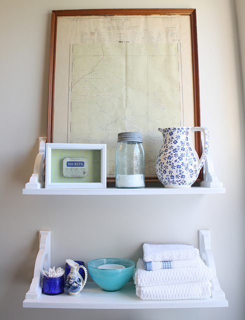 vintage inspired diy shelves bathroom ideas shelving ideas after attaching the shelves to