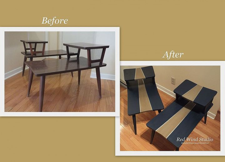 retro restyled, chalk paint, home decor, painted furniture, These tables have arborite on them but I was still able to paint them with Annie Sloan Chalk Paint I gave them a good cleaning then used 220 grit sand paper to take the sheen off Once the sheen was gone it was necessary to remove all dust with a tack rag Time to paint
