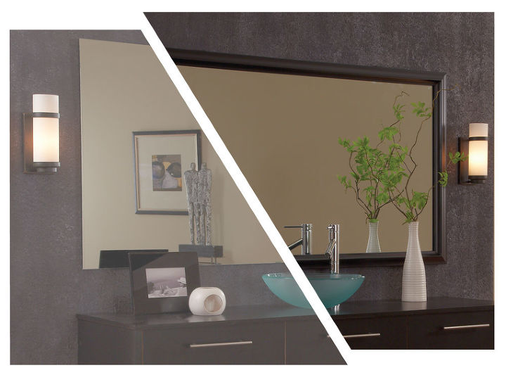 MirrorMate's Chelsea frame updates a bare, plate glass mirror in minutes. Photo styled by Emily A Clark.
