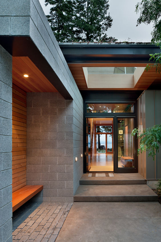 seattle architect sustainable elegance a leed platinum residence, architecture, go green, home decor, home improvement, Entry View Ellis Residence Coates Design Architects Seattle photo by Lara Swimmer