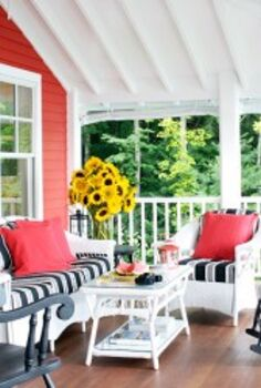 be bold and decorate a room in red to add warmth and coziness this fall, home decor, Outdoor Porch with RED accents
