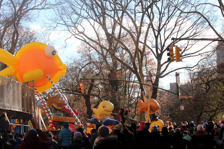 """An unidentified school of fish """"march"""" (swim out of water) in Macy's 2013 Thanksgiving Parade. View One (at CPW). Image featured @  https://www.facebook.com/media/set/?"""