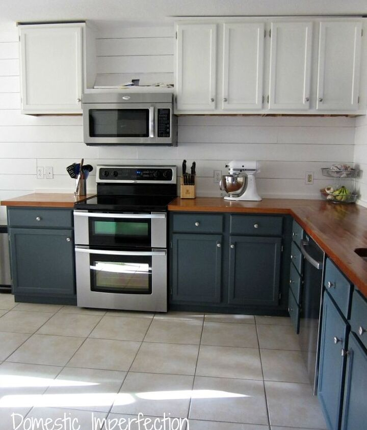 painted plank walls in kitchen