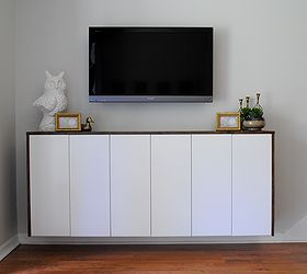 diy floating credenza fauxdenza as custom media cabinet kitchen cabinets painted furniture & DIY Floating Credenza