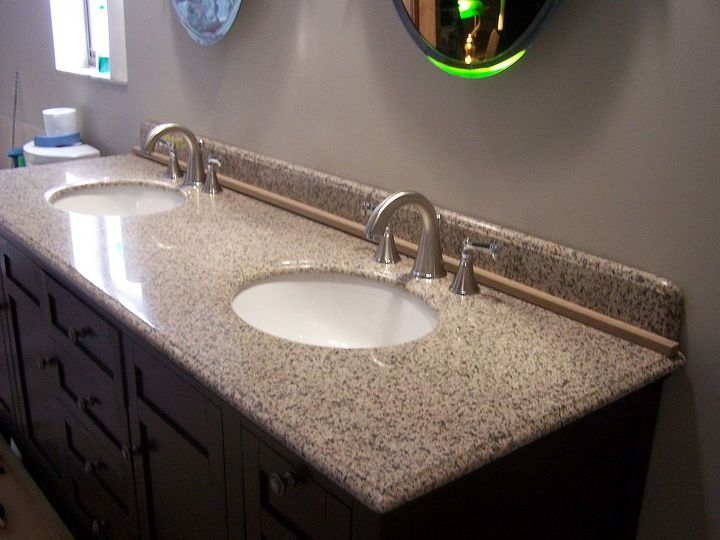 New sinks with espresso cabinet and granite