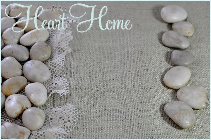 First I layered: plastic mesh-burlap-then the stones...