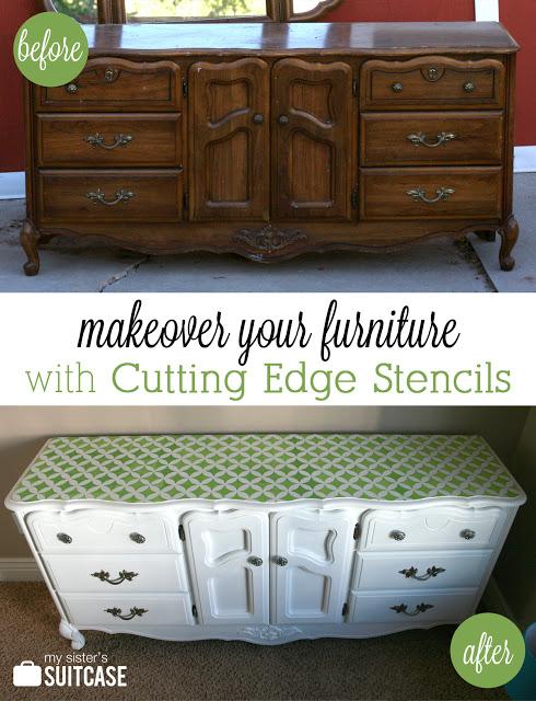 before after stenciled bedroom furniture, painted furniture, Before After Stenciled Dresser using Nagoya Medium Craft Stencil