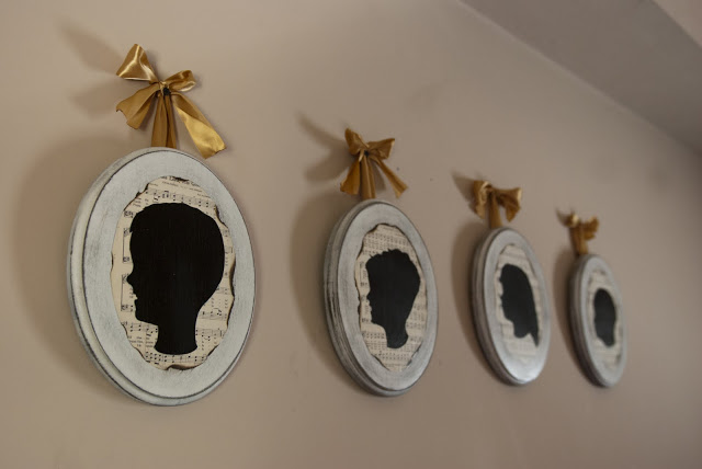 Here are the finished plaques hanging on our bedroom wall.