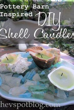 recycled candles and repurposed shells make great pottery barn inspired shell candles, crafts, repurposing upcycling, These are so easy to make