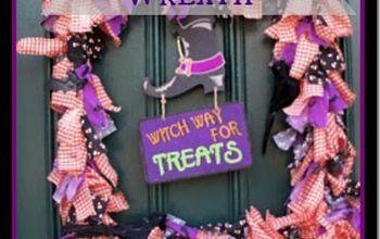 make a halloween fabric wreath, crafts, halloween decorations, repurposing upcycling, seasonal holiday decor, wreaths, Finished Halloween Wreath