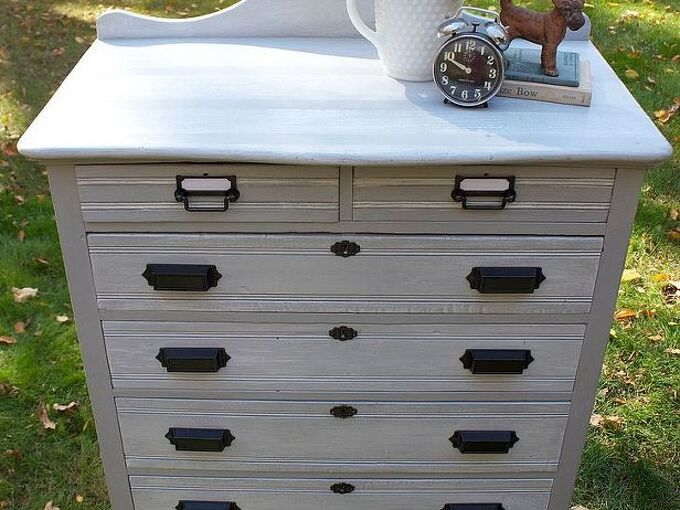 my new favorite dresser makeover, painted furniture, Paris Grey Chalk Paint by Annie Sloan on the base with Pure White dry brushed over top and sealed with clear wax