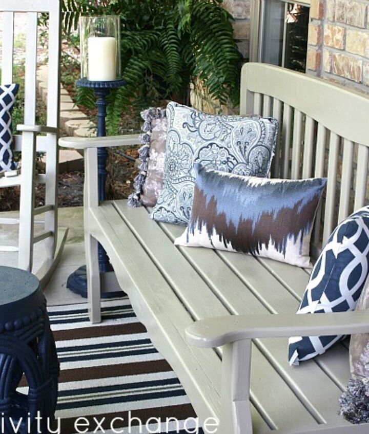 Pretty outdoor pillows and neutral painted furniture helped to update and freshen up my porch.