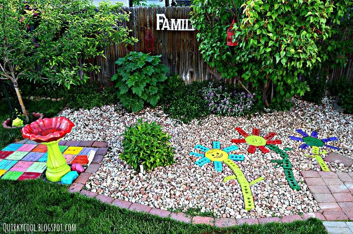 recycled bricks from an old fireplace turned into colorful yard art,  landscape, outdoor living - Recycled Bricks From An Old Fireplace Turned Into Colorful Yard Art