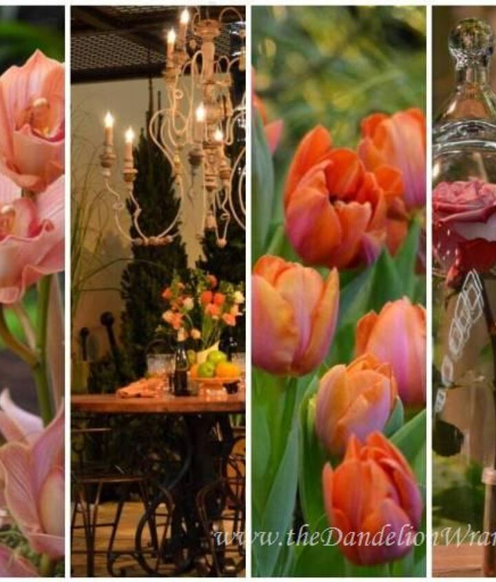 Lust: A romantic feel with rose pinks and tangerine hues. Crystal and glass used to set a tone in your outdoor living space.