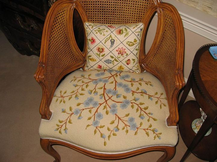 """Not a """"match"""", but Mom needlepointed the chair seat and the pillow."""