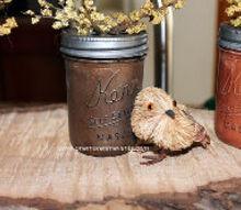 painted fall mason jars, crafts, mason jars, painting, Wondland birds added to complete this Fall vignette
