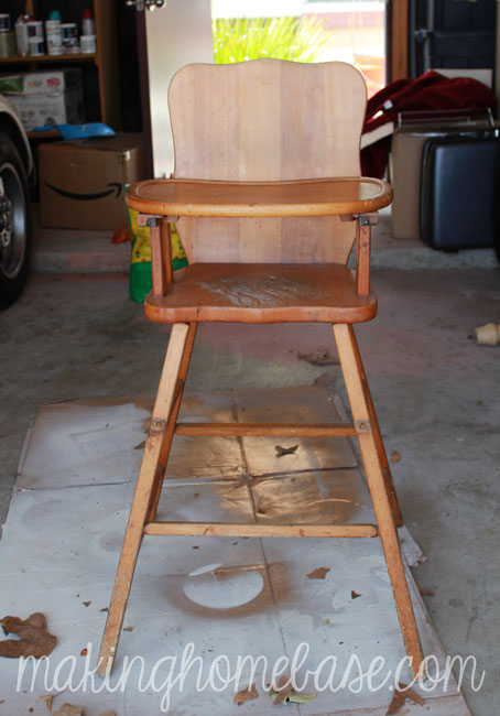 vintage wood high chair with annie sloan chalk paint, chalk paint, painted furniture, Before