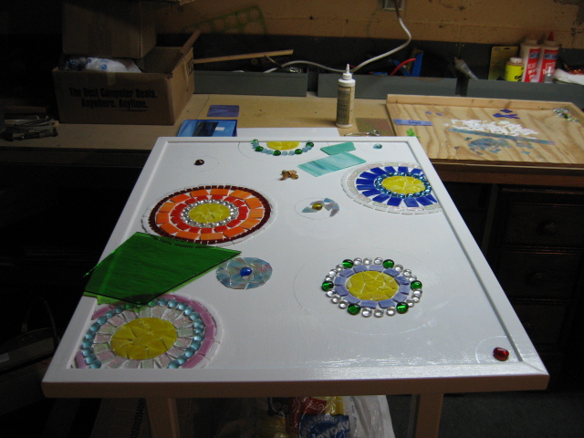 stained glass mosaic patio table, painted furniture, tiling, Trying to decide on the background I usually start a project with a main idea then work out the details as I go