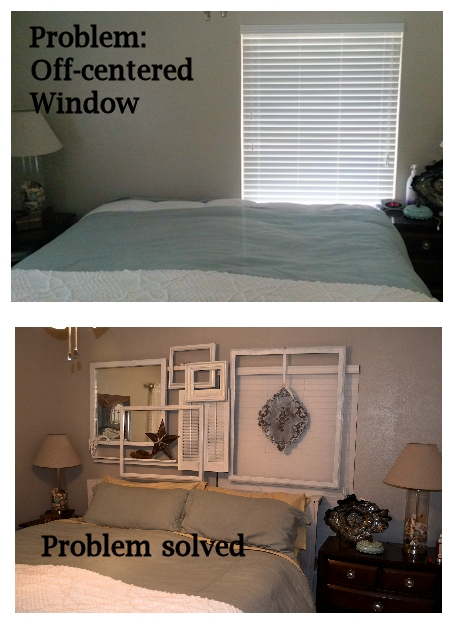 adapt and overcome, bedroom ideas, home decor, painted furniture, A large wall collage with vintage windows frames and shutters
