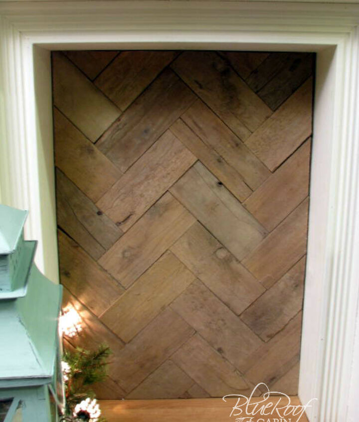 pallet wood laid in a herringbone pattern
