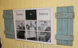 want to know what to do with an old window and some fence boards, crafts, diy, painting, repurposing upcycling, woodworking projects, Old window frame and fence boards turned into Family Photo Display
