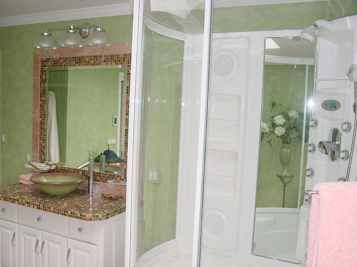 The combination shower and bath with surround sound is way cool or hot should I say....
