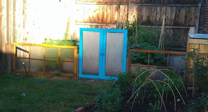 repurposed antiques cabinet doors and door inserts, doors, outdoor living, painting, repurposing upcycling