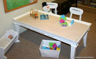 playroom sensory table, painted furniture, repurposing upcycling, After Playroom Sensory Table with dry erase top