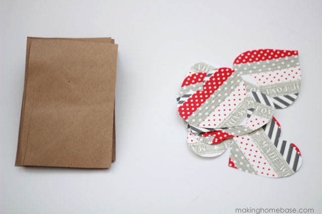 valentine s day paper bag and washi tape heart bunting, crafts, seasonal holiday decor, valentines day ideas