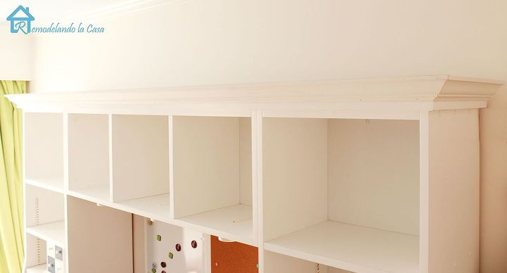 add crown to plain bookcases, home decor, painted furniture, woodworking projects