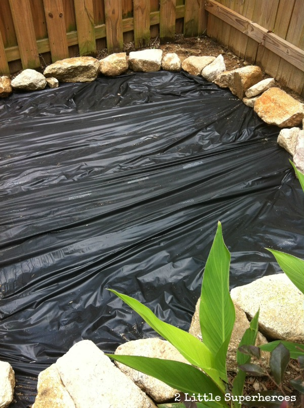Landscaping fabric all laid down.