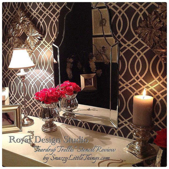 "Closet makeover using Royal Design Studio ""Teardrop Trellis"" stencil."