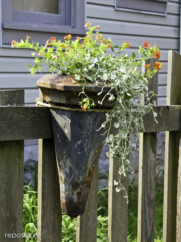 vintage downspout planters, garages, gardening, repurposing upcycling